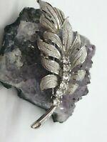 Vintage Sterling Silver Leaf Rhinestone Brooch 5.8 Grams