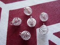 20pcs Wire Pearl Cage Pendant Necklace Earring Spiral Bead Cage Holder 9x12mm