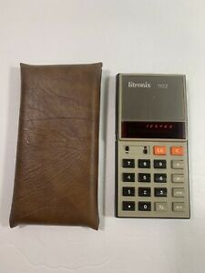 Vintage 1970's Litronix 1102A Calculator Red LED Display w/ Carrying Case-TESTED