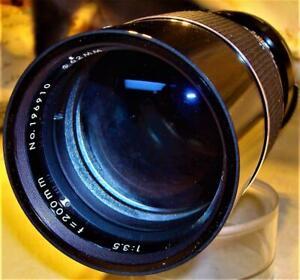 VF AUTO TAMRON 200mm Telephoto 3.5 Lens W/ Hard Barrel Tamron Case 1A Filter