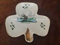 Carrigaline Irish Pottery Shamrock Pattern • Shamrock Shaped Dish • Cork Ireland
