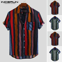 Mens Hawaiian Short Sleeve T shirt Summer Beach Party Striped Baggy Shirts Top