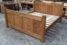 Made to Order - Chunky Solid Pine Tudor Panel Bed Frame