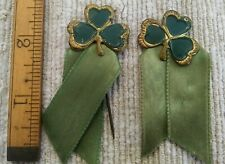 2 Vintage Saint Patrick's Day Stick Pins with Ribbon