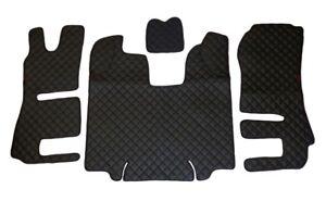 Noir Eco Cuir Tapis + Moteur Housse pour Scania R Automatique 2014/16 LHD