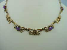 AMETHYST NECLACE VINTAGE SYMMETALIC STERLING SILVER & 14K YELLOW GOLD