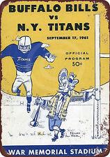 1961 NY Titans vs. Buffalo Bills vintage look reproduction metal Sign 8 x 12