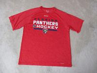 Reebok Florida Panthers Shirt Adult Medium Red Blue NHL Hockey Dri Fit Mens