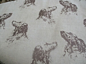 """EMILY BOND ENGLISH SETTER LINEN FABRIC REMNANT, 53"""" by 48"""",  CUSHIONS, CRAFTS ET"""