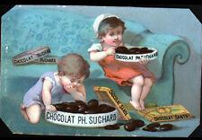 IMAGE CHROMO CHOCOLAT Suisse SUCHARD / ENFANT avec BOITE & TABLETTE de CHOCOLAT