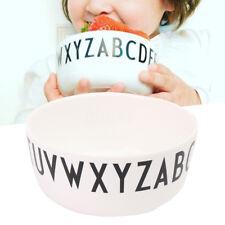 White Alphabet Safety Bowl Anti-drop Dinner Food Feeding Children Kid Tableware