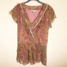 Uniform John Paul Richard Blouse Pink Paisley Silk Beaded Ruffle Tie Back Sz XL