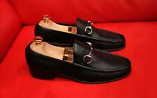 $689.00 !! GUCCI MEN HORSE BIT BLACK LEATHER  SHOES LOAFERS MARKED  SIZE 42.5 S
