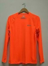 Mens Asics Neon Orange Motiondry Long Sleeve Running Gym Training Top Size Small