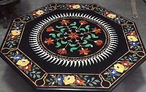 "42"" Marble Center Coffee Table Top Pietra Dura Floral Inlay Work"