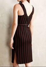 MAEVE Anthropologie Meridian Midi Dress XS Black Brown Striped Sleeveless Sheath