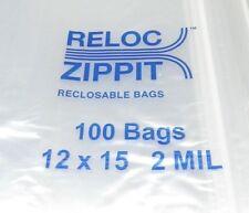 "LARGE Ziplock bags 12x15 clear 2 MIL 100 pcs reclosable BIG size 12"" x15"" RELOC"