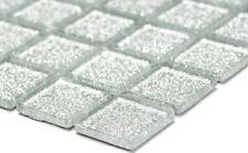 SILVER Glitter 3D Mosaic tile GLASS Square Wall BATHROOM Splashback - 60-0207_b