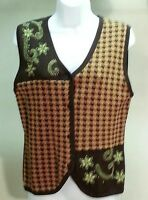 New Bechamel Women's Brown Geometric Floral Vest Sweater Size: S