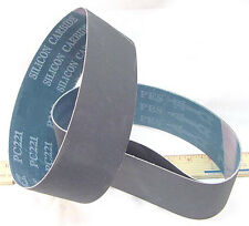 BUTW (3) 100 grit Si Carbide lapidary grinding belt 8""