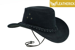 New Australian Black Western Outback Leather Cowboy Hat Wide Brim S to 2XL