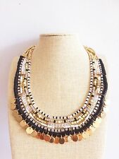 Black Gold disc beaded Bohemian People Free Spirit Anthropology Style Necklace