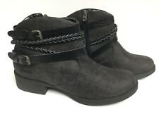 BLOWFISH Woman's Ankle Boots - Size 12  Black/Gray buckle and zipper NWOB