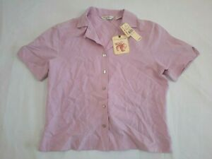 Tommy Bahama Button Up Shirt Womens  Small Purple Silk Ladies Short Sleeve