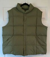 Men's Lands End Puffer Down & Feather Snap  Front Vest Green Size XXL 50-52