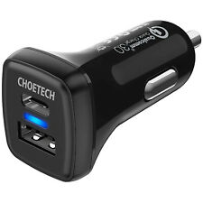 CHOETECH 36W USB Type C Car Charger, Power Delivery 18W+Quick Charger 3.0 2-Port