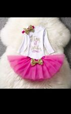 Baby pink Lavender Girl 1st First Birthday Tutu Outfit Shirt Set long sleeve