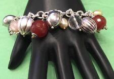 Vintage Italy Milor 925 Charm Bracelet Sterling Silver Balls Faux Pearls Crystal