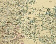 1880 ANTIQUE MAP DENMARK SCHLESWIG HOLSTEIN & LAUENBURG COPENHAGEN ICEAND FAORE