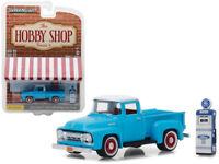 1954 Ford F-100 Pickup Truck Blue w/ Ford Gas Pump 1:64 Model - 97030A *