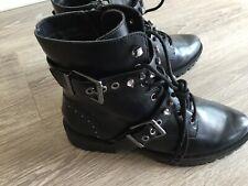 Stradivarius Black Double Buckle Biker Boots With Diamante Trim - Size Uk 7- New