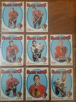1971-72 Topps Chicago Black Hawks 8 Card Set (Mikita, Hull, Stapleton)