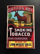 1940's Vintage Orphan Boy Smoking Tobacco Sample Box - ST. Louis, Missouri