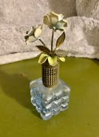 VINTAGE PERFUME BOTTLE BLUE GLASS WITH ROSES