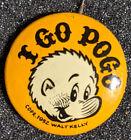 "Original Vintage 1962 ""I Go Pogo"" Walt Kelly Lithograph Pinback Comic"