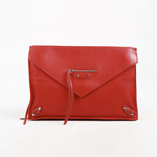 "Balenciaga Red Calfskin Leather ""Papier Sight"" Clutch"