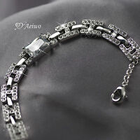 18K WHITE GOLD GF MADE WITH SWAROVSKI CRYSTAL BRIDE WEDDING H CHAIN BRACELET