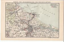 c. 1890 Poland Gdansk Germany Danzig Port Vistula Wisla River Area Antique Map