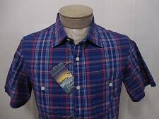 Daniel Short Sunset Polo Shirt Button Chest Pocket M Army Washed Navy Blue Check