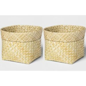 "2pk THRESHOLD Large Leaf Basket With Rolled Edge | 9.5"" x 9"" 