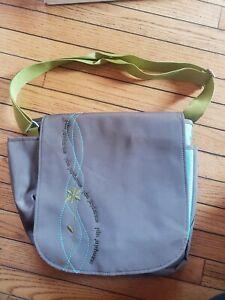 Stampin Up Shoulder Laptop Bag Organizer Scrapbook Craft Tool Tote Brown Flowers
