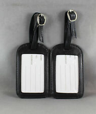 "LEATHER LUGGAGE TAGS ""2 x BLACK"" WITH WINDOW FOR NAME/ADDRESS/TEL (BRAND NEW)"
