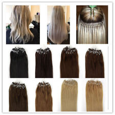 """14-26"""" Ombré Micro Ring Beads Easy Loop Remy Human Hair Extensions Straight"""