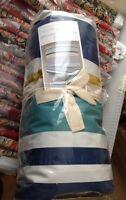 West Elm Gallery Stripe Duvet Cover Set King 2 Euro Shams Mountain Blue