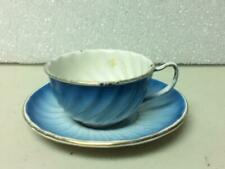 Antique, Rare 2-pc Child's Flow Blue Enamelware Cup and Saucer