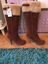 Ladies Glamorous Style Heeled Knee High suede Boots Size 6